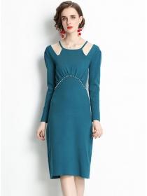 Europe Autumn Beads Waist Long Sleeve Knitting Dress