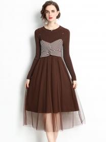 Fashion Wholesale 2 Colors Stripes Waist Knitting Gauze Dress