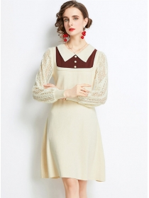 Preppy Europe Doll Collar Lace Sleeve Knitting A-line Dress