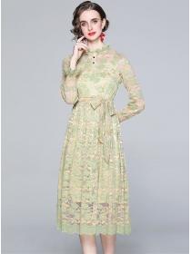 Charming Europe Tie Waist Lace Flowers A-line Dress