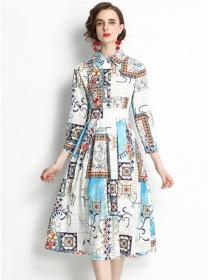 Retro Charming High Waist Shirt Collar Flowers Dress