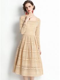 Retro Grace High Waist Square Collar Lace A-line Dress