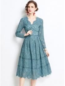 Pretty Women Fashion V-neck Pleated Lace A-line Dress