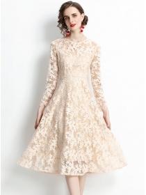 Retro Grace High Waist Lace Flowers Slim A-line Dress